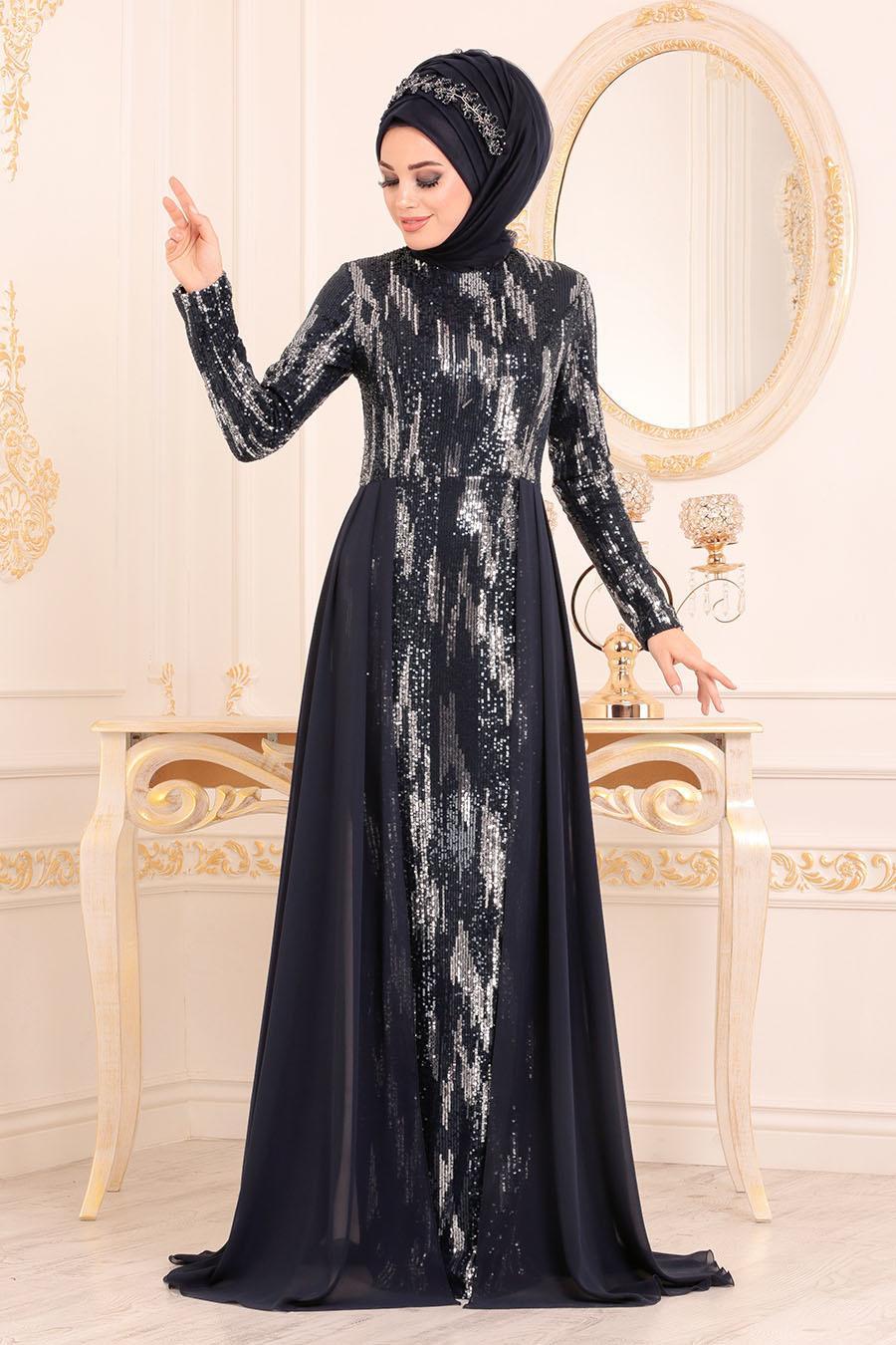 Nayla Collection - Pul Payetli Lacivert Tesettür Abiye Elbise 25740L