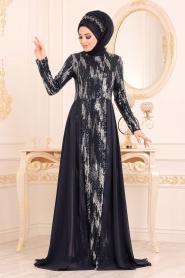 Nayla Collection - Pul Payetli Lacivert Tesettür Abiye Elbise 25740L - Thumbnail