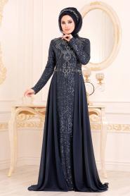 Nayla Collection - Pul Payetli Lacivert Tesettür Abiye Elbise 25742L - Thumbnail