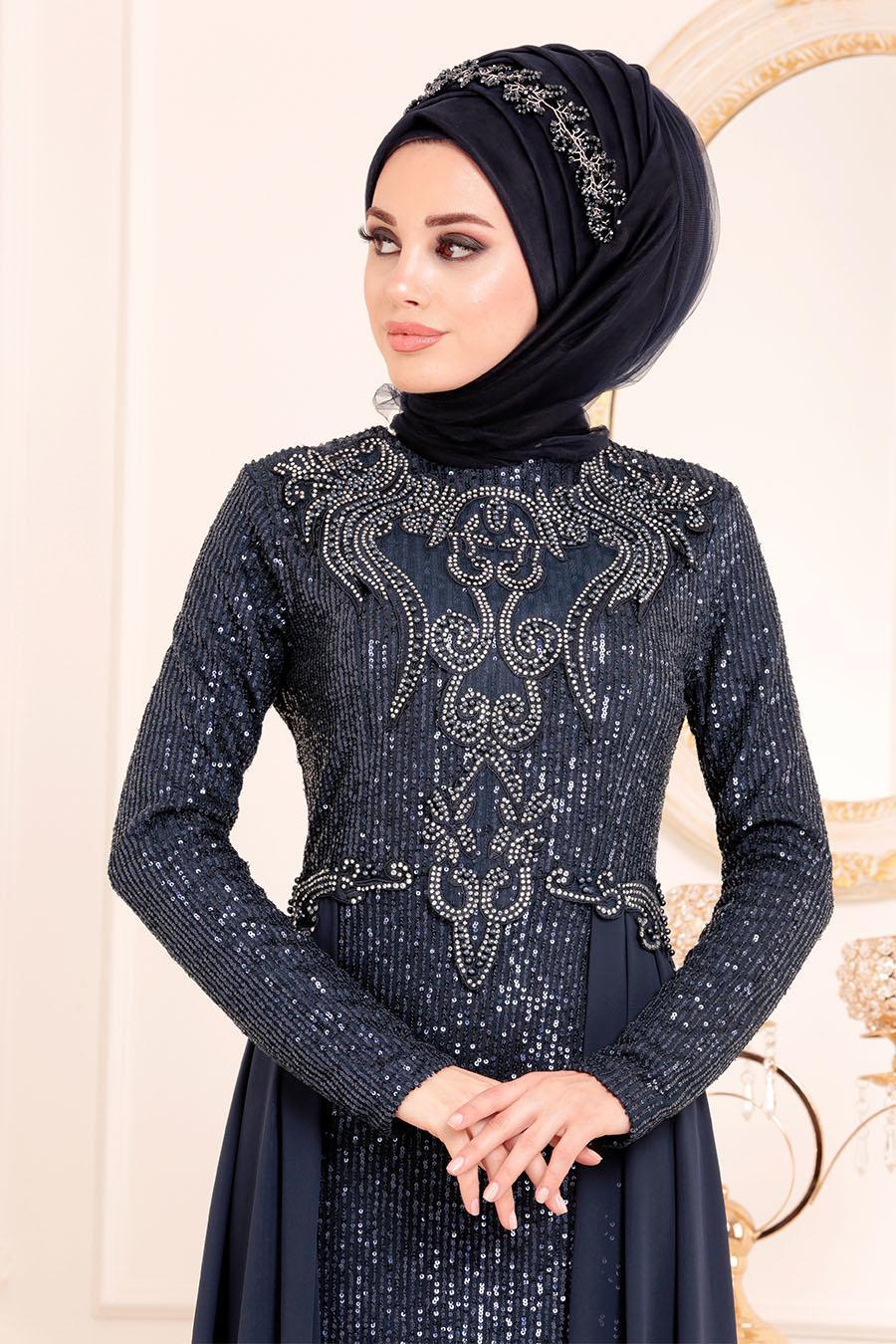 Nayla Collection - Pul Payetli Lacivert Tesettür Abiye Elbise 25742L