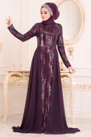 Nayla Collection - Pul Payetli Mor Tesettür Abiye Elbise 25740MOR - Thumbnail