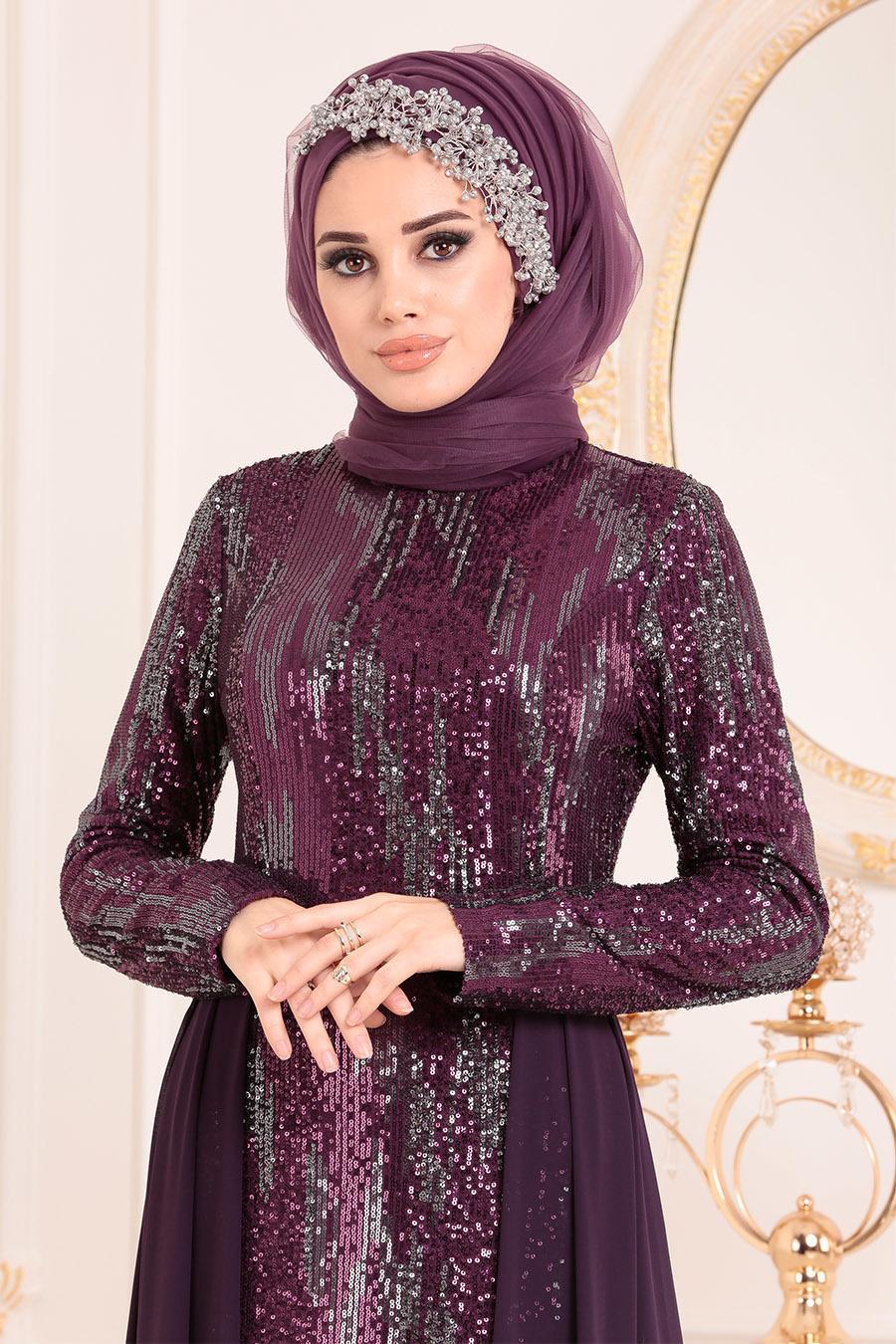 Nayla Collection - Pul Payetli Mor Tesettür Abiye Elbise 25740MOR