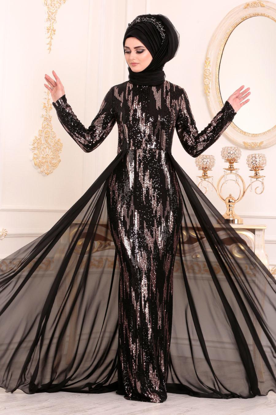 Nayla Collection - Pul Payetli Siyah Tesettür Abiye Elbise 25740S