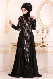 Nayla Collection - Pul Payetli Siyah Tesettür Abiye Elbise 25740S - Thumbnail