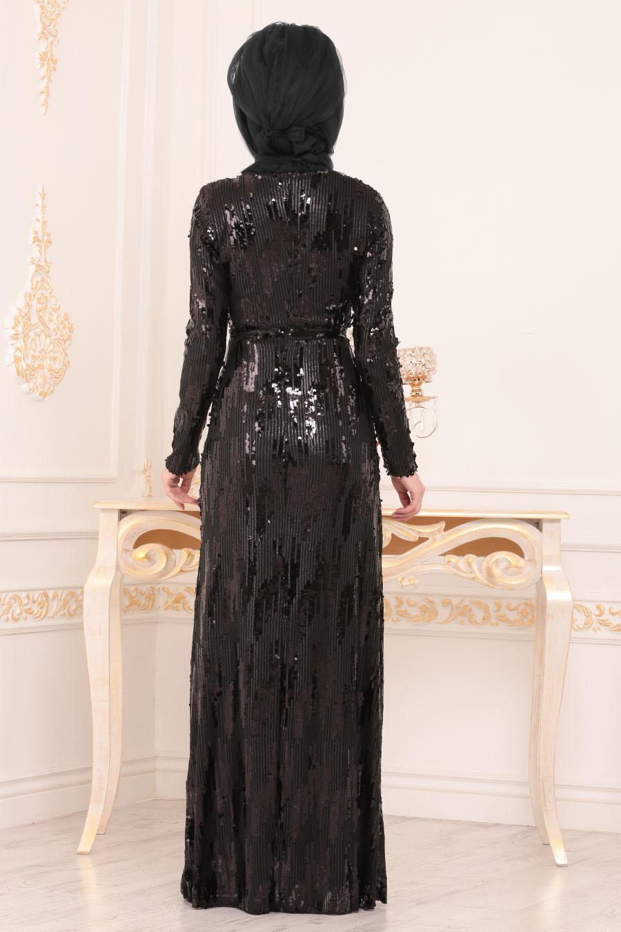Nayla Collection - Pul Payetli Siyah Tesettür Abiye Elbise 9110S