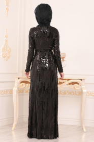 Nayla Collection - Pul Payetli Siyah Tesettür Abiye Elbise 9110S - Thumbnail