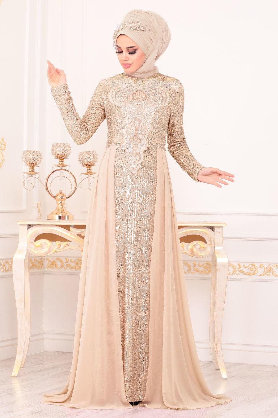 Nayla Collection - Pul Payetli Somon Tesettür Abiye Elbise 25724SMN