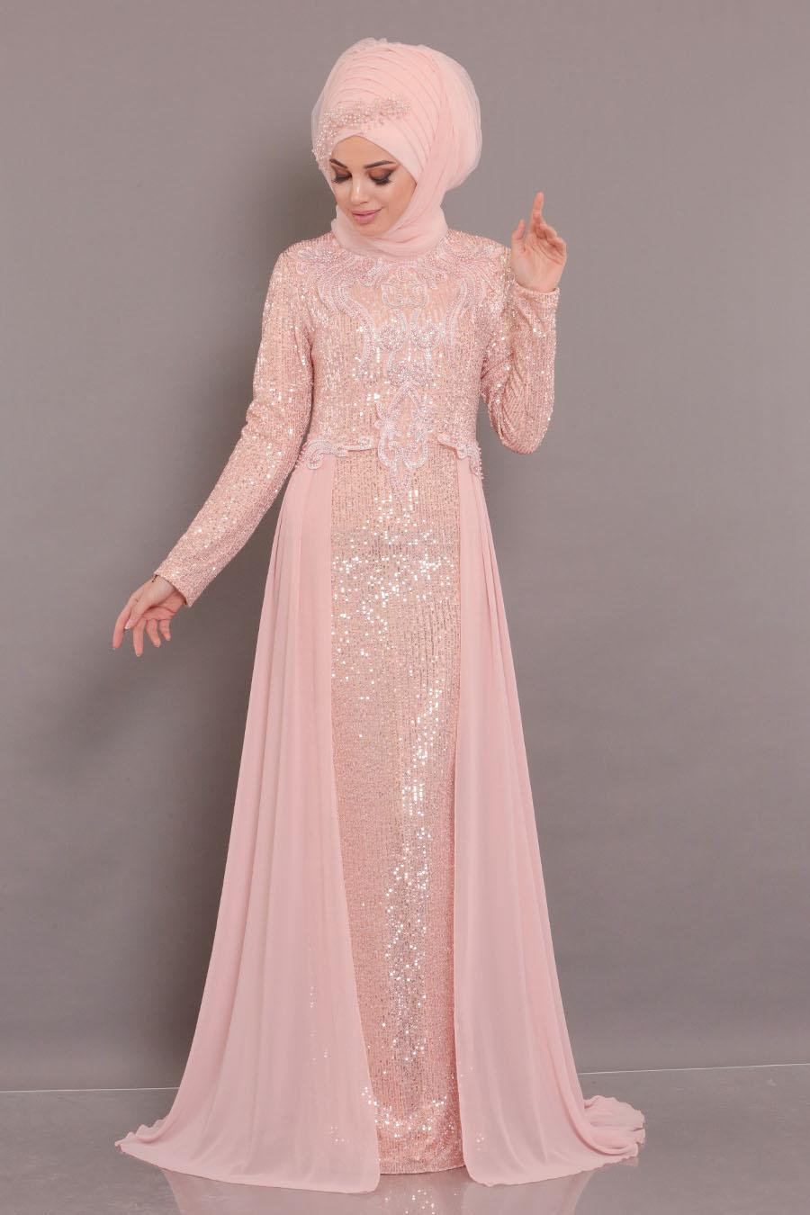 Nayla Collection - Pul Payetli Somon Tesettür Abiye Elbise 25742SMN