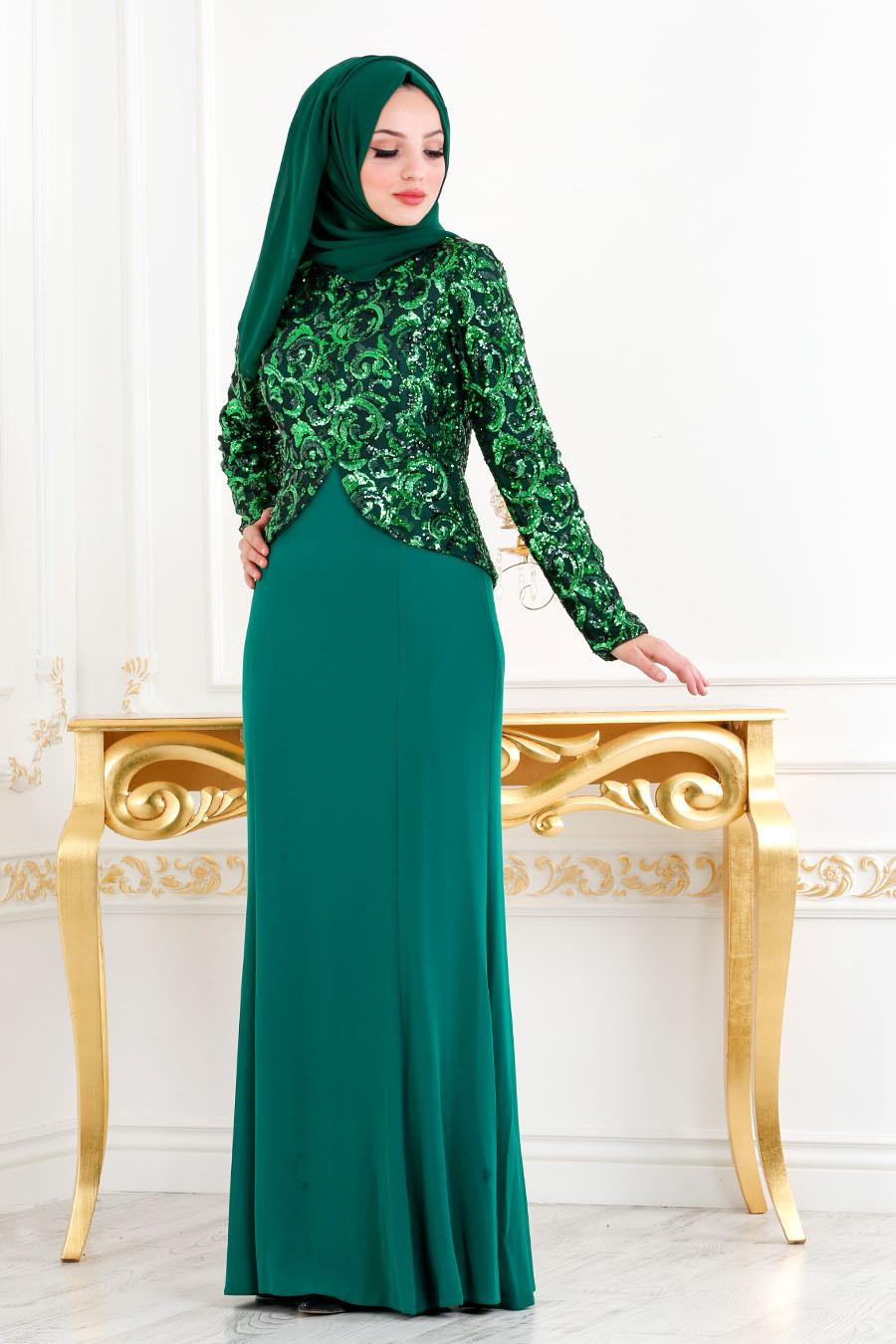 Nayla Collection - Pul Payetli Yeşil Tesettür Abiye Elbise 2131Y