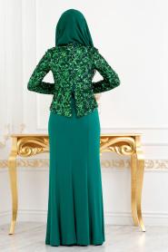 Nayla Collection - Pul Payetli Yeşil Tesettür Abiye Elbise 2131Y - Thumbnail
