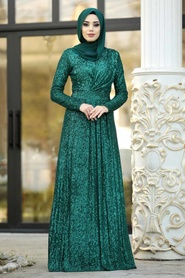Nayla Collection - Pul Payetli Yeşil Tesettür Abiye Elbise 9106Y - Thumbnail