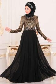 Nayla Collection - Pul Payetlli Gold Tesettür Abiye Elbise 25746GOLD - Thumbnail