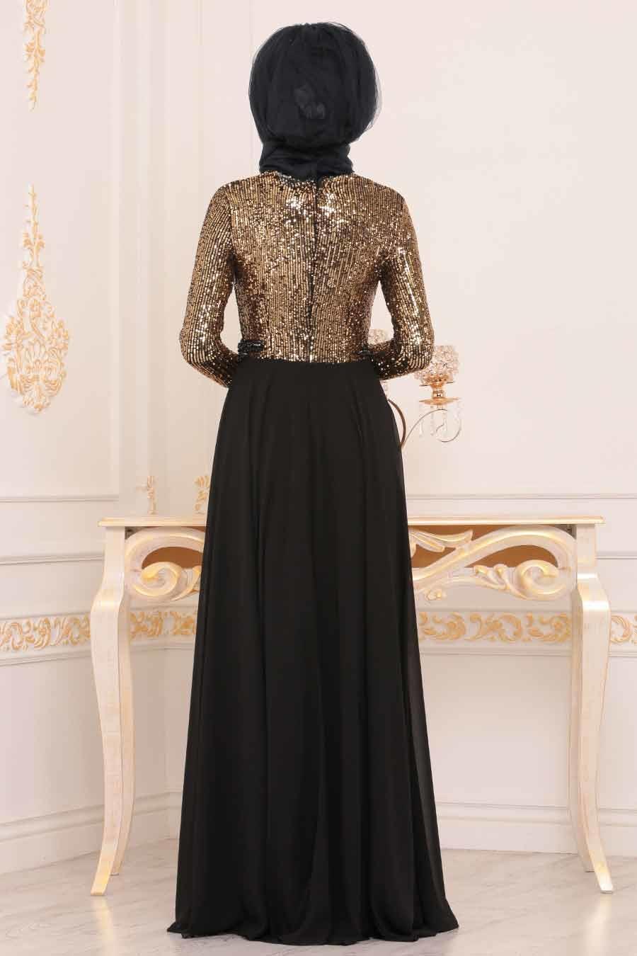 Nayla Collection - Pul Payetlli Gold Tesettür Abiye Elbise 25746GOLD