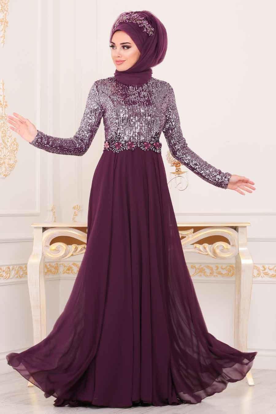Nayla Collection - Pul Payetlli Mor Tesettür Abiye Elbise 25746MOR