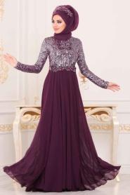 Nayla Collection - Pul Payetlli Mor Tesettür Abiye Elbise 25746MOR - Thumbnail