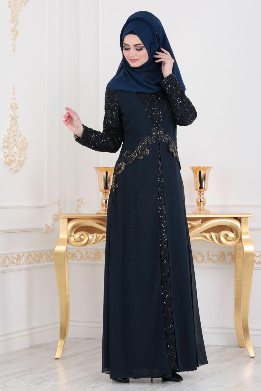 Nayla Collection - Pullu Dantel Detaylı Lacivert Tesettür Abiye Elbise 25714L
