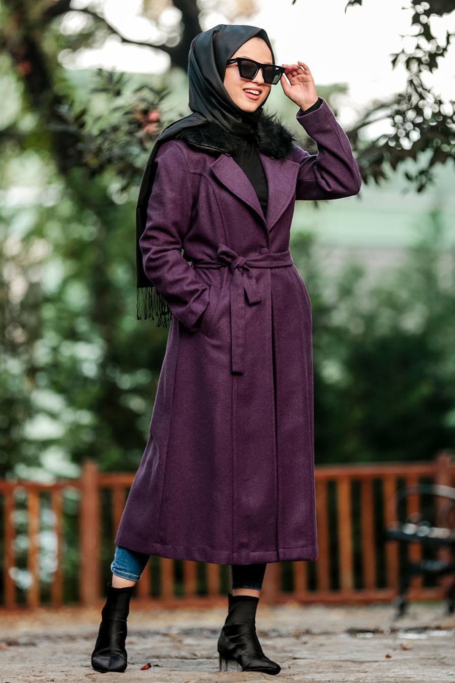 Nayla Collection - Purple Hijab Coat 5406MOR