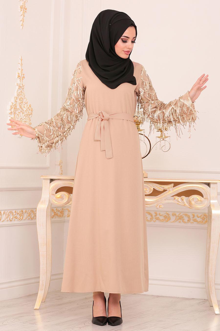 Nayla Collection - Püsküllü Bej Tesettür Elbise 40640BEJ