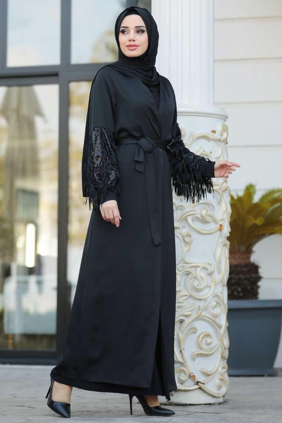 Nayla Collection - Püsküllü Siyah Tesettür Abaya 8936S