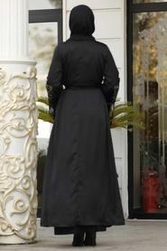 Nayla Collection - Püsküllü Siyah Tesettür Abaya 8936S - Thumbnail