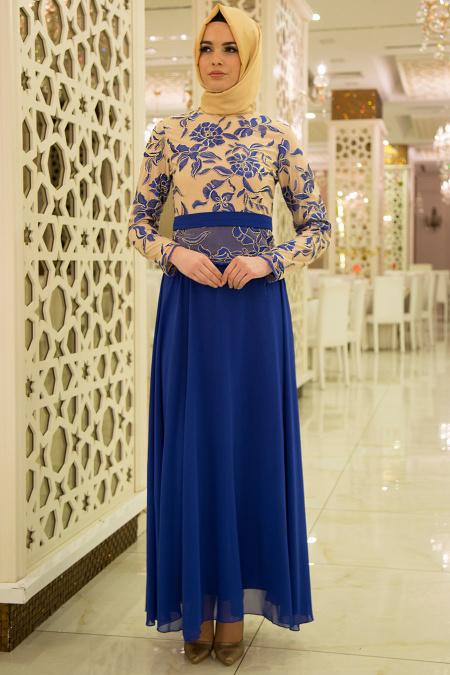 Nayla Collection - Sax Mavi Elbise