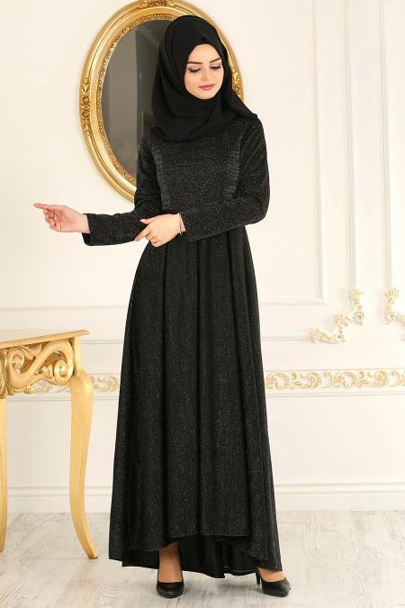 Nayla Collection - Simli Siyah Tesettür Abiye Elbise 4156S