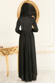 Nayla Collection - Simli Siyah Tesettür Abiye Elbise 4156S - Thumbnail