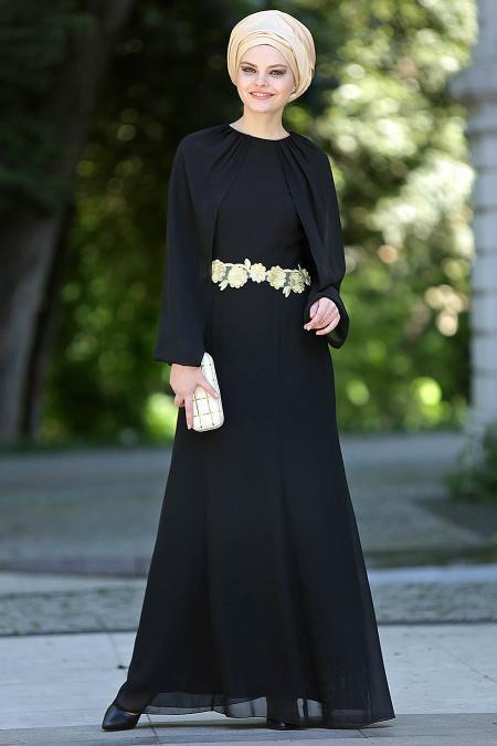 Nayla Collection - Siyah Balık Elbise