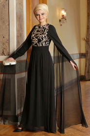 Nayla Collection - Siyah Elbise - Thumbnail