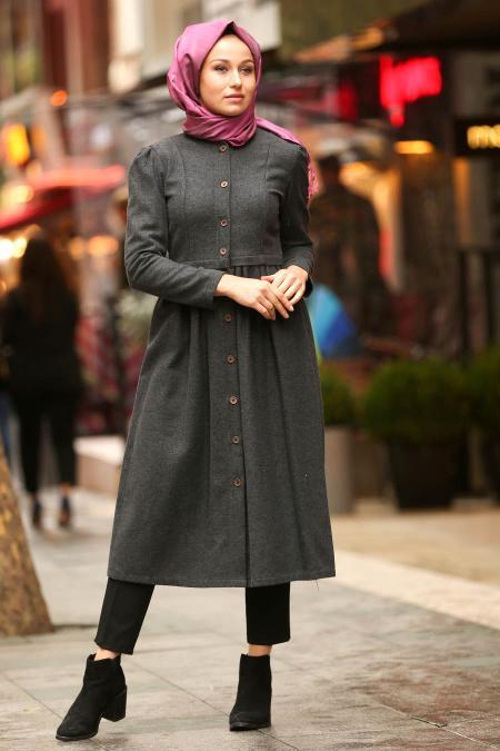 Nayla Collection - Smoked Hijab Coat 2458FU