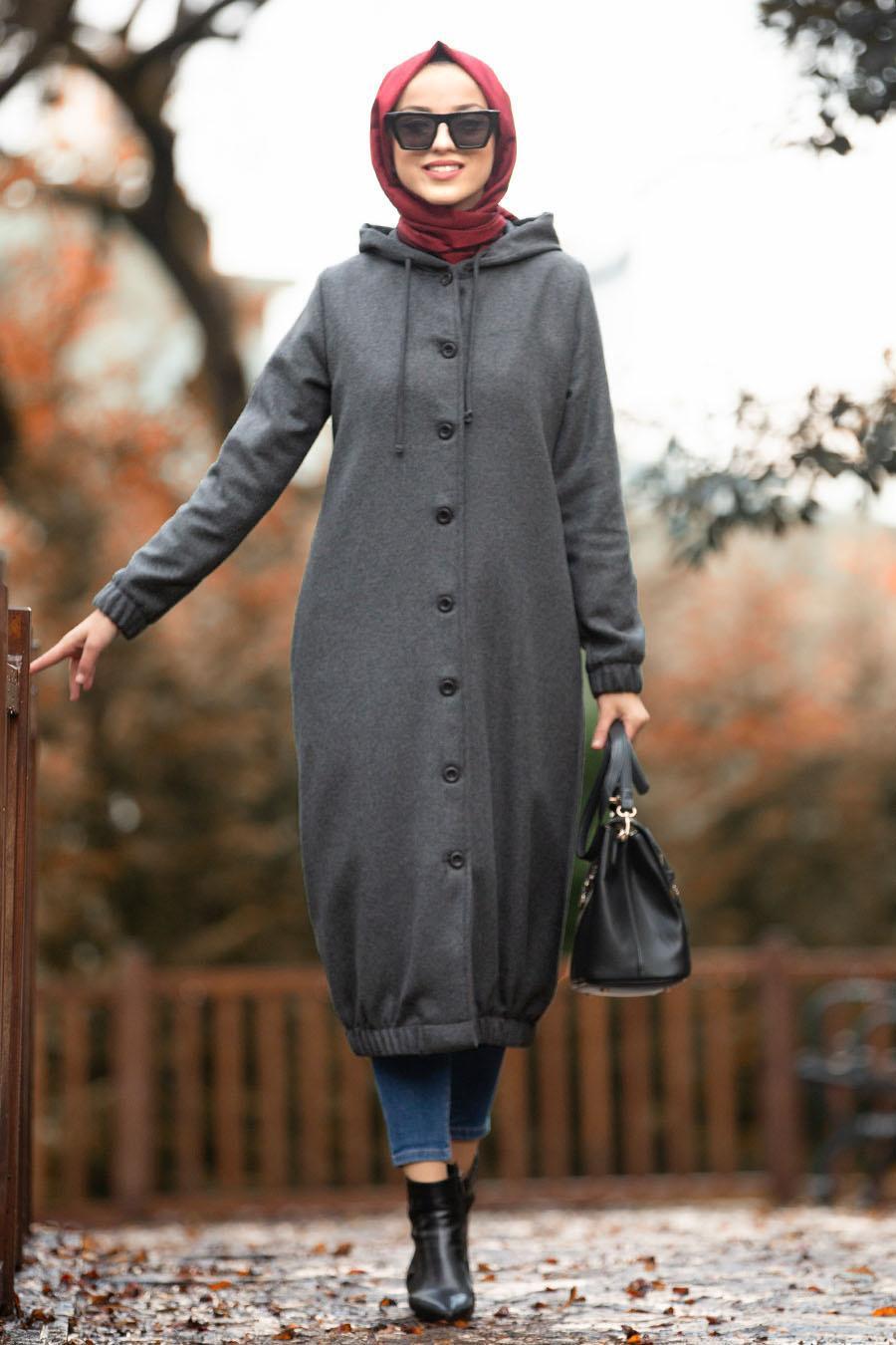Nayla Collection - Smoked Hijab Coat 5403FU