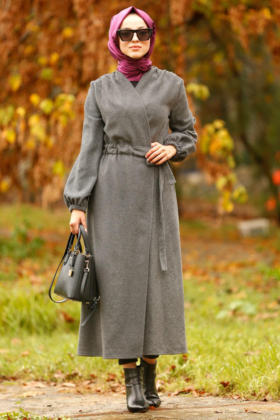 Nayla Collection - Smoked Hijab Coat 5409FU