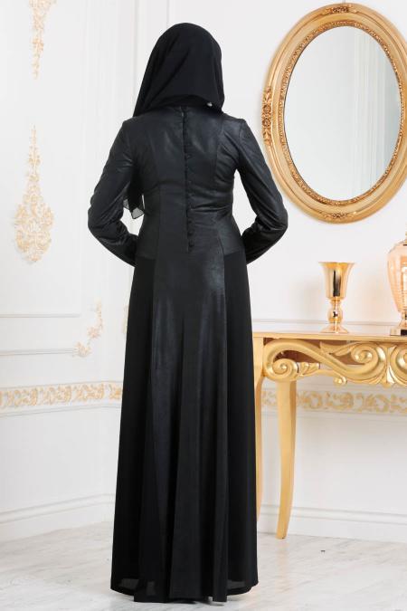 Nayla Collection - Suni Deri Siyah Tesettür Abiye Elbise 10001S