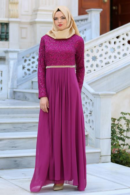 Nayla Collection - Taş Detaylı Fuşya Abiye Elbise 2799F