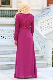Nayla Collection - Taş Detaylı Fuşya Abiye Elbise 2799F - Thumbnail