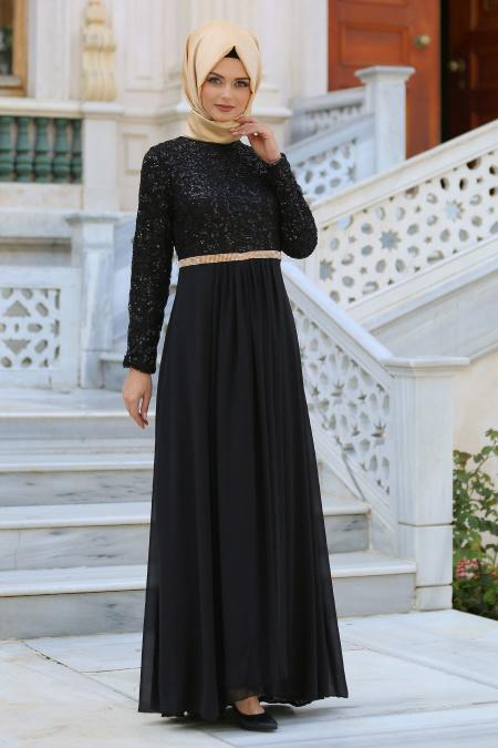 Nayla Collection - Taş Detaylı Siyah Abiye Elbise 2799S