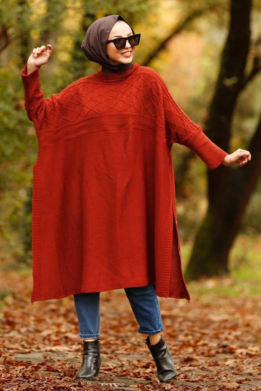 Nayla Collection - Terra Cotta Hijab Poncho 21040KRMT