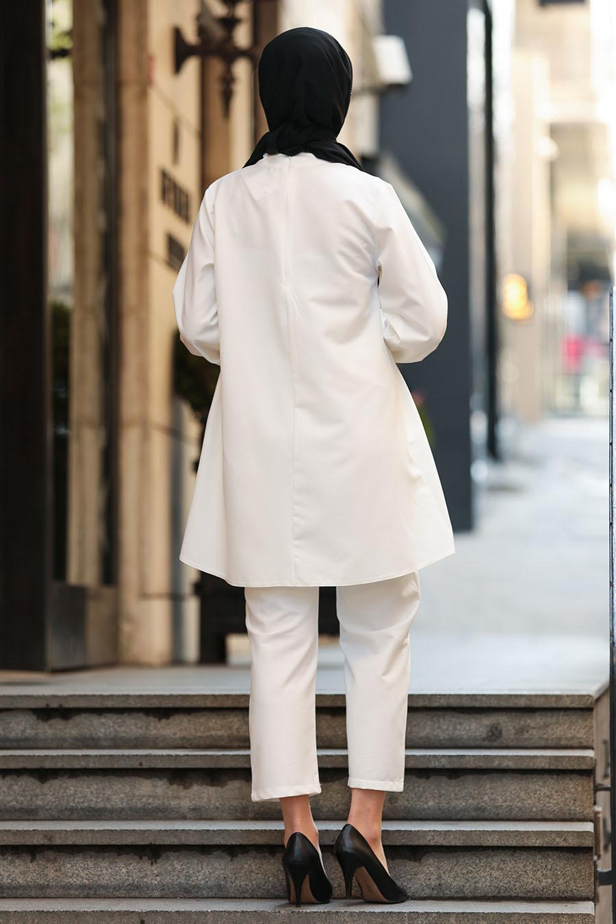 Nayla Collection - Tunik & Pantolon Ekru Tesettür Takım 2125E