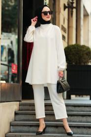 Nayla Collection - Tunik & Pantolon Ekru Tesettür Takım 2125E - Thumbnail
