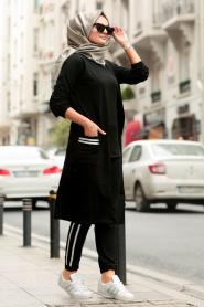 Nayla Collection - Üçlü Siyah Tesettür Spor Takım 2380S - Thumbnail