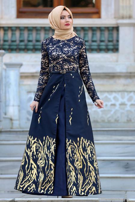 Nayla Collection - Üzeri Dantelli Lacivert Tesettür Abiye Elbise 82441L