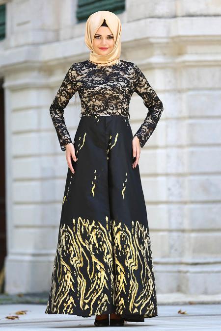 Nayla Collection - Üzeri Dantelli Siyah Tesettür Abiye Elbise 82441S