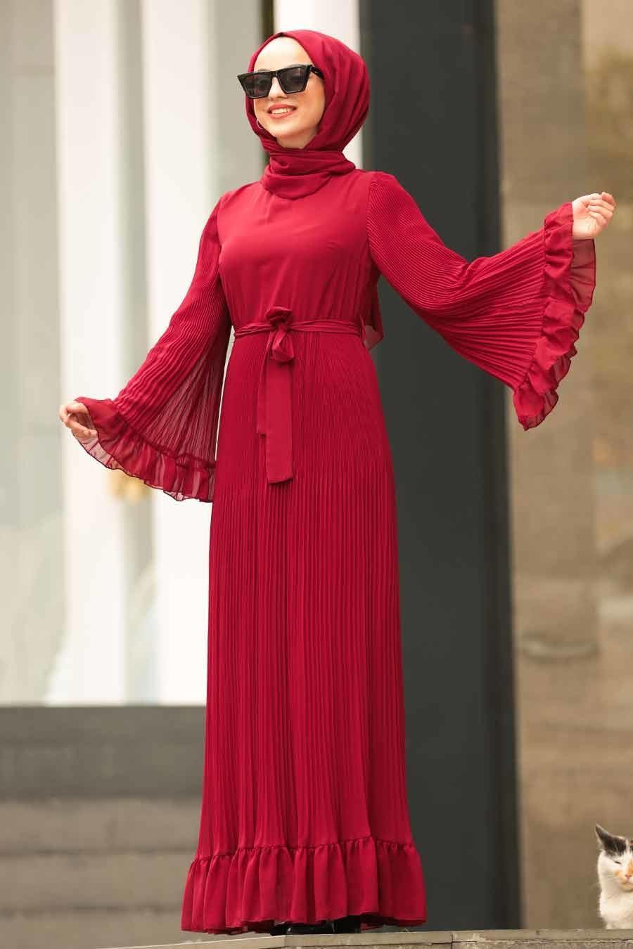 Nayla Collection - Volan Kollu Bordo Tesettür Elbise 1310BR