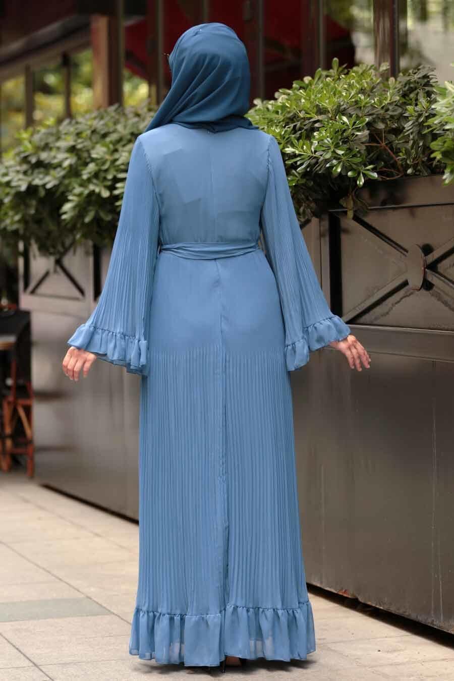 Nayla Collection - Volan Kollu İndigo Mavisi Tesettür Elbise 1310IM