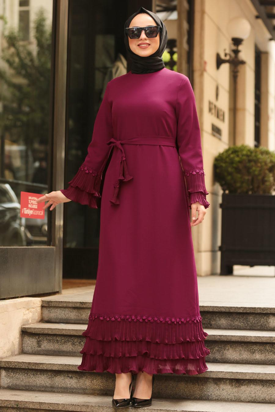 Nayla Collection - Volan Kollu Mor Tesettür Elbise 6754MOR