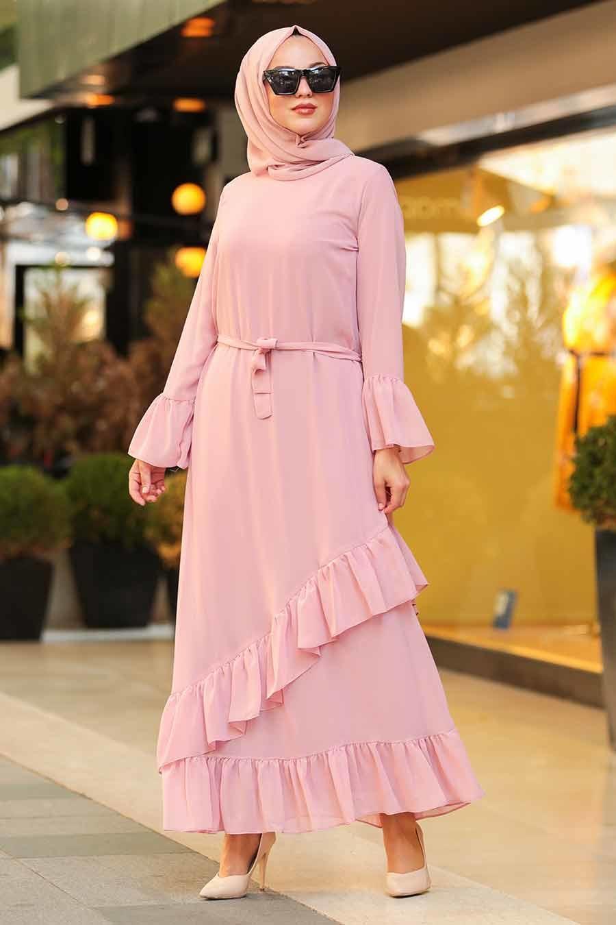 Nayla Collection - Volan Kollu Pudra Tesettür Elbise 50202PD