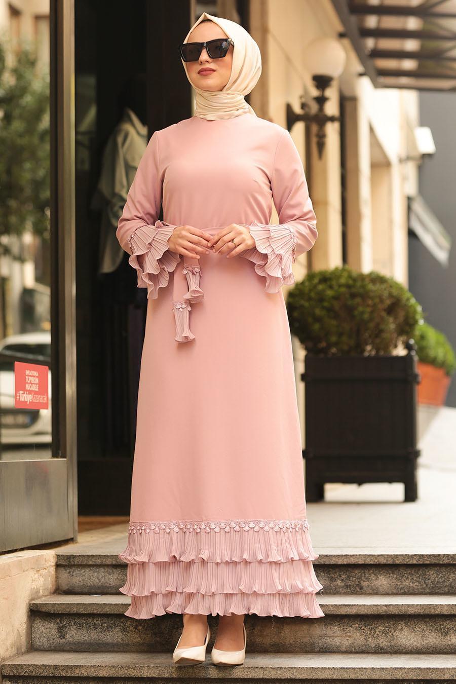 Nayla Collection - Volan Kollu Pudra Tesettür Elbise 6754PD