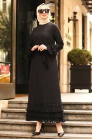 Nayla Collection - Volan Kollu Siyah Tesettür Elbise 6754S - Thumbnail