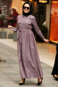 Nayla Collection - Yakası Düğmeli Lila Tesettür Elbise 19084LILA - Thumbnail