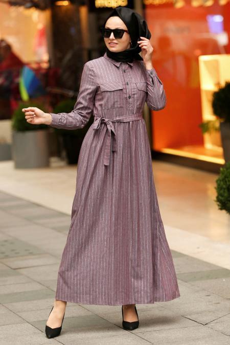Nayla Collection - Yakası Düğmeli Lila Tesettür Elbise 19084LILA